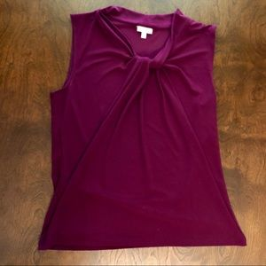Talbots - Purple Knot Tie Blouse
